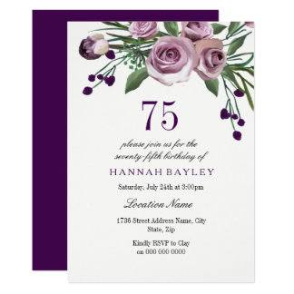 Elegant Plum Purple Rose 75th Birthday Invitation