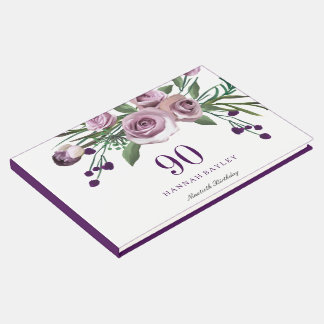 Elegant Plum Purple Rose 90th Birthday Guestbook