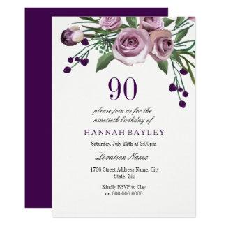Elegant Plum Purple Rose 90th Birthday Invitation