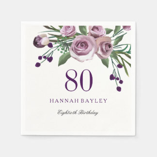 Elegant Plum Purple Rose Floral 80th Birthday Disposable Serviette