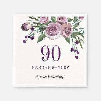 Elegant Plum Purple Rose Floral 90th Birthday Disposable Napkins