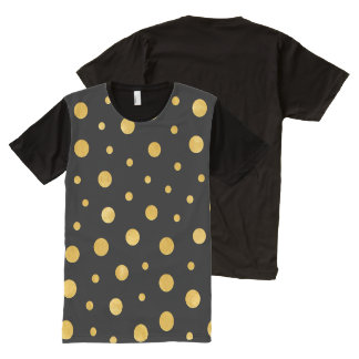 Elegant polka dots - Black Gold All-Over Print T-Shirt