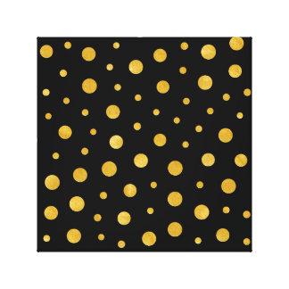 Elegant polka dots - Black Gold Canvas Print