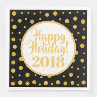 Elegant polka dots - Black Gold Disposable Napkin
