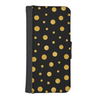 Elegant polka dots - Black Gold iPhone SE/5/5s Wallet Case