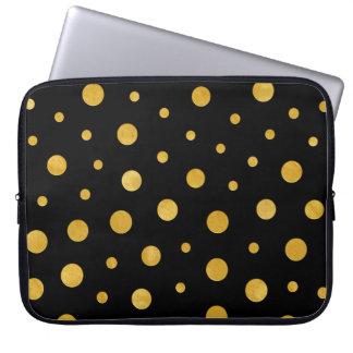 Elegant polka dots - Black Gold Laptop Sleeve