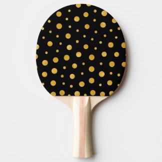Elegant polka dots - Black Gold Ping Pong Paddle