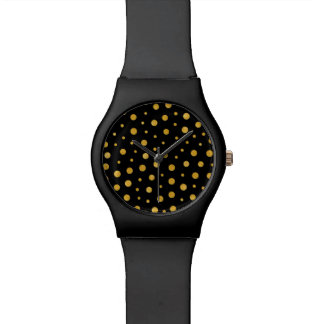 Elegant polka dots - Black Gold Watch