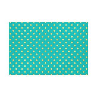 Elegant Polka Dots -Mint & Gold- Canvas Print