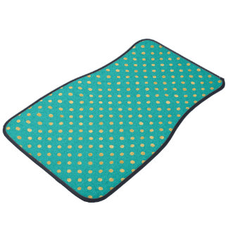 Elegant Polka Dots -Mint & Gold- Car Mat