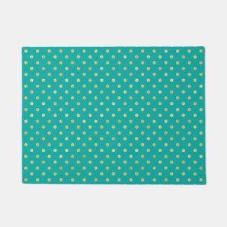Elegant Polka Dots -Mint & Gold- Doormat