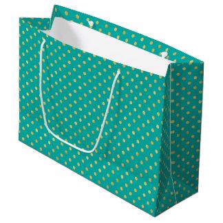 Elegant Polka Dots -Mint & Gold- Large Gift Bag