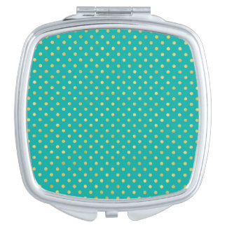 Elegant Polka Dots -Mint & Gold- Mirror For Makeup