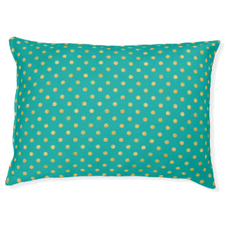 Elegant Polka Dots -Mint & Gold- Pet Bed