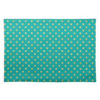 Elegant Polka Dots -Mint & Gold- Placemat