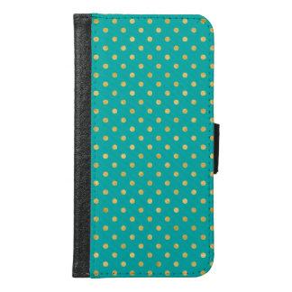 Elegant Polka Dots -Mint & Gold- Samsung Galaxy S6 Wallet Case
