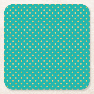 Elegant Polka Dots -Mint & Gold- Square Paper Coaster