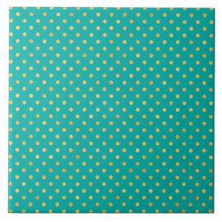 Elegant Polka Dots -Mint & Gold- Tile