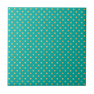 Elegant Polka Dots -Mint & Gold- Tile