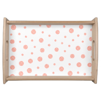 Elegant polka dots - Soft Pink Gold White Serving Tray