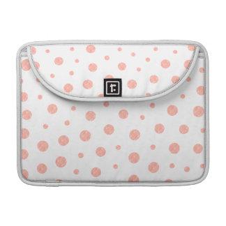 Elegant polka dots - soft Pink Gold White Sleeve For MacBook Pro