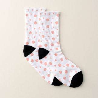 Elegant polka dots - Soft Pink Gold White Socks