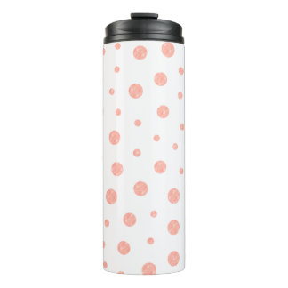 Elegant polka dots - Soft Pink Gold White Thermal Tumbler