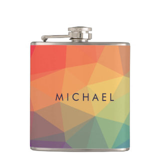Elegant polygonal triangle colored add your name hip flask