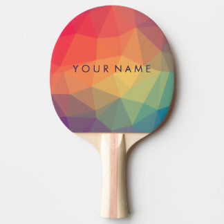 Elegant polygonal triangle colored add your name ping pong paddle