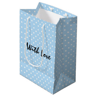 Elegant Powder Blue Polka Dot Pattern With Love Medium Gift Bag