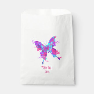 Elegant Pretty Butterfly Pink Teal Personalized Favour Bags