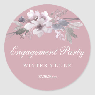 Elegant Pretty Dusty Pink Floral Engagement Party Classic Round Sticker