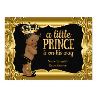 Elegant Prince Baby Shower Black Gold Ethnic 13 Cm X 18 Cm Invitation Card