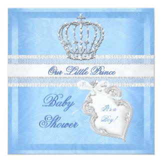 Elegant Prince Baby Shower Boy Blue Little Prince 13 Cm X 13 Cm Square Invitation Card