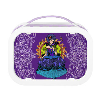 Elegant princess illustration with butterfly lunchboxes