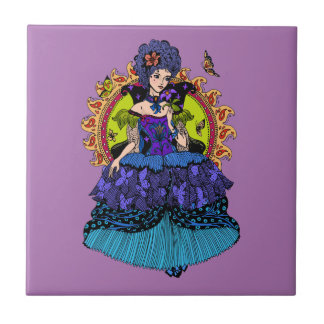 Elegant princess illustration with butterfly small square tile