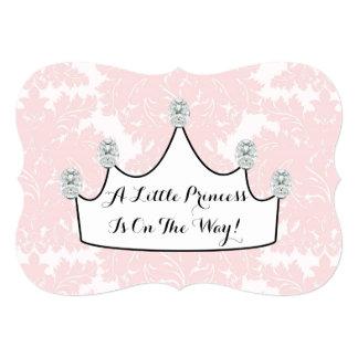 Elegant Princess Pink Damask Baby Girl Shower Card
