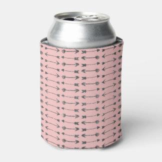 Elegant Printed Girly Pink & Black Glitter Arrows Can Cooler