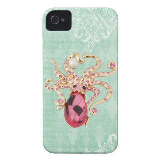 Elegant Printed Jewel Octopus Vintage Shabby Chic Case-Mate iPhone 4 Case