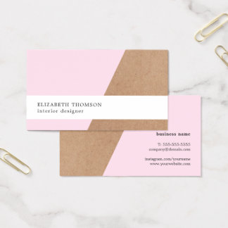 Elegant Printed Kraft Rose Geometric Business Card