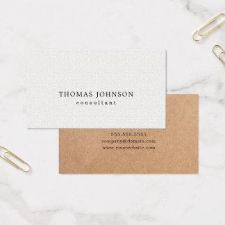 Elegant PRINTED Kraft Texture White Consultant Business Card