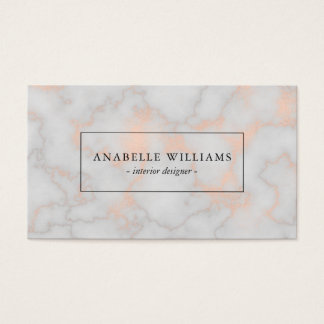 Elegant Printed Rose Gold Marble Texture Business Card