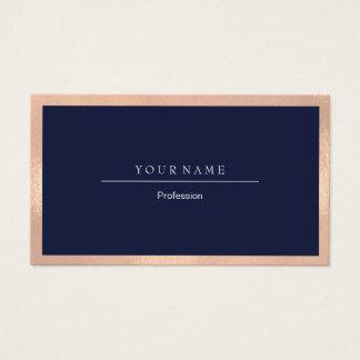 Elegant Professional Frame Metal Blue Navy Peach Business Card