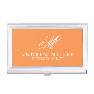 Elegant Professional Orange Monogram Business Card Holder