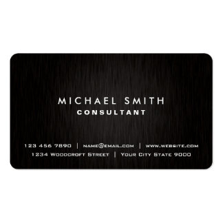 Elegant Professional Plain Black Modern Metal Look Pack Of Standard Business Cards