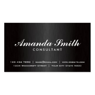 Elegant Professional Plain Black Modern Metal Pack Of Standard Business Cards