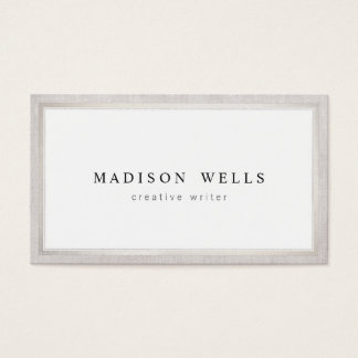 Elegant Professsional White with Silver Border Business Card