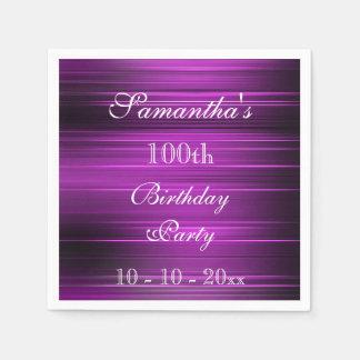 Elegant Psychedelic Purple 100th Birthday Disposable Serviettes