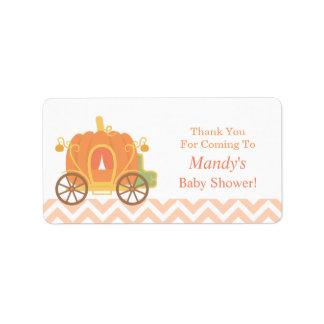 Elegant Pumpkin Carriage Baby Shower Labels