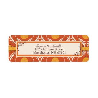Elegant Pumpkin Damask Print for Thanksgiving Return Address Label